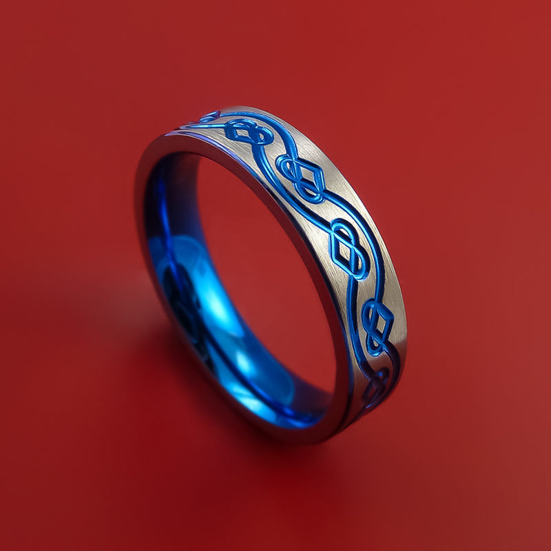 Titanium Ring with Infinity Heart Milled Celtic Design and Anodized Inlays and Interior Anodized Sleeve Custom Made Band