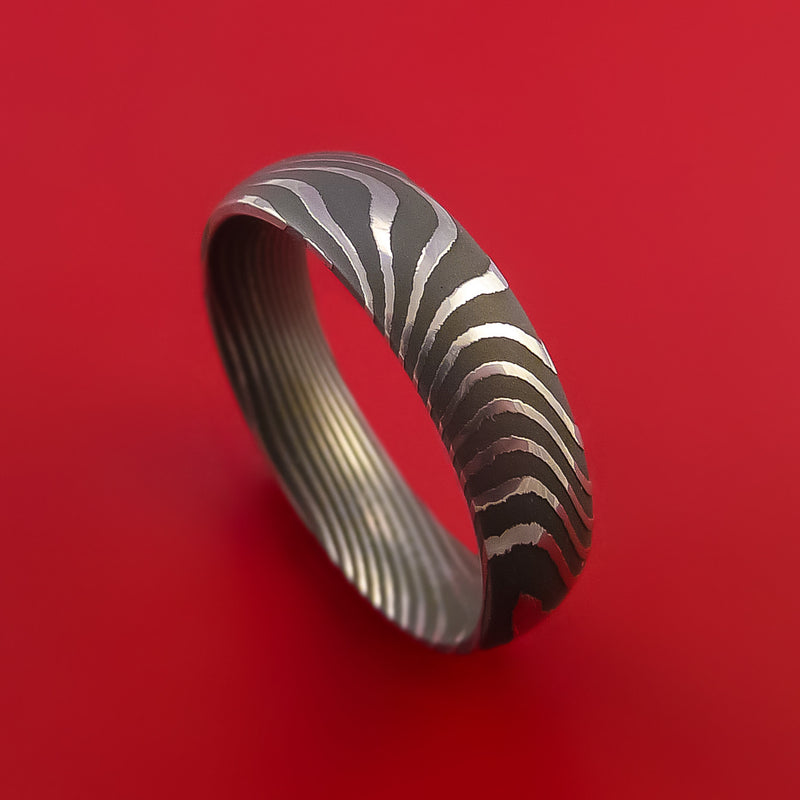 Flat Twist Damascus Steel Ring Custom Made Band