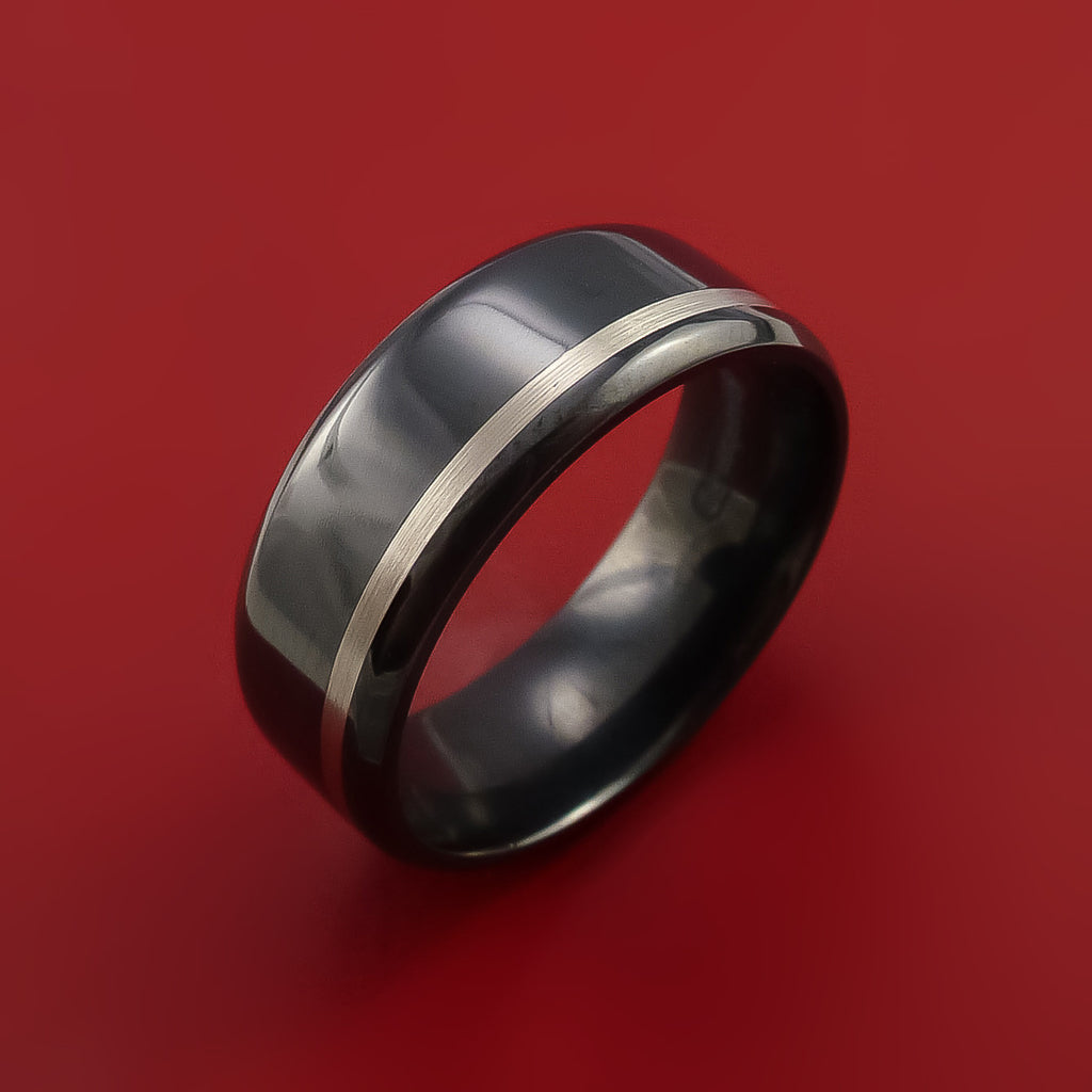 Black Zirconium Band Wide Palladium Inlay Ring Made To Any