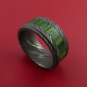 Damascus Steel Ring with Hardwood Inlay Custom Made Band