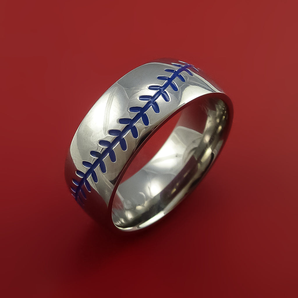 Titanium Baseball Ring with Blue Stitching Fan Band Any Size and Color Red, Green, Blue Inlay by Stonebrook Jewelry