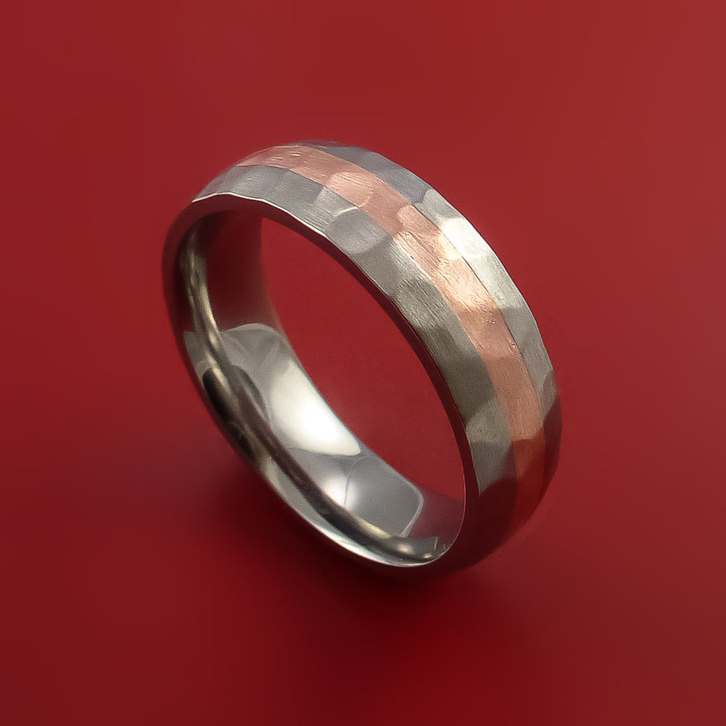Titanium and Copper Ring Custom made Band Hammer Finish and Sizing - Stonebrook Jewelry  - 1