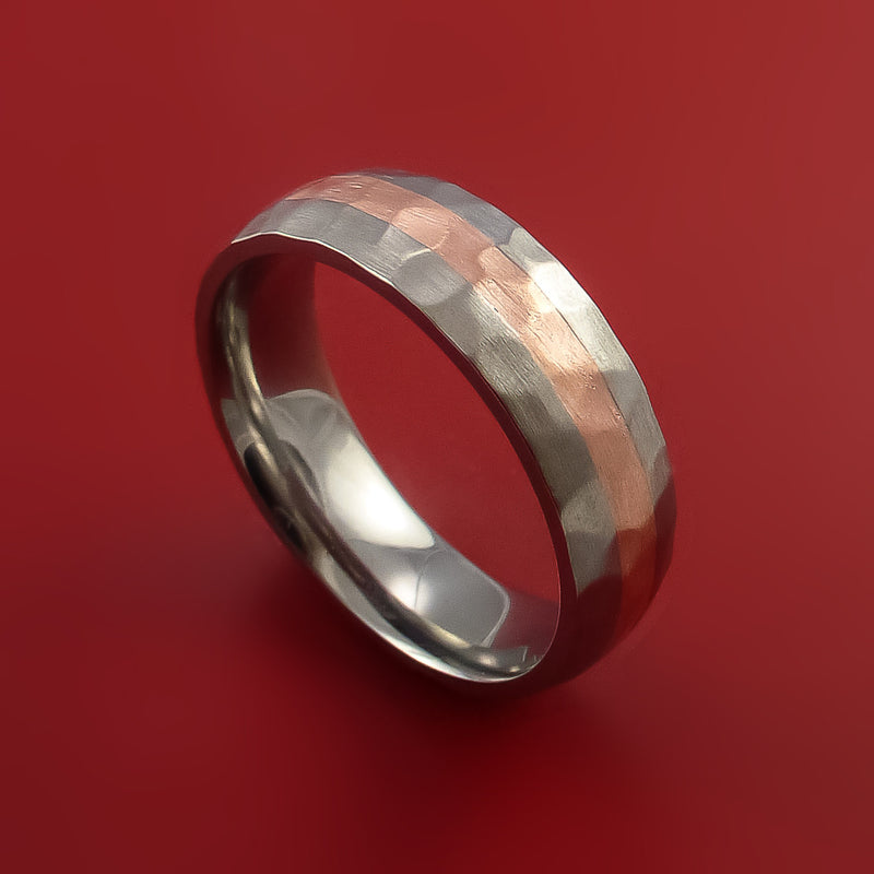Hammered Titanium Ring with Copper Inlay Custom Made Band