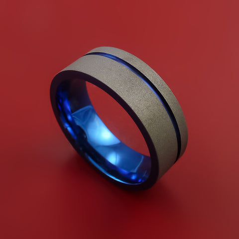 Titanium Wide Band Fine Jewelry Ring Made to Any Size Blue Anodized