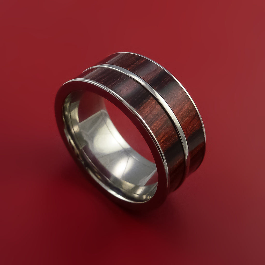 Wood Ring and Titanium Ring inlaid in Red Heart Wood Custom Made to Any Size and Optional Wood Types