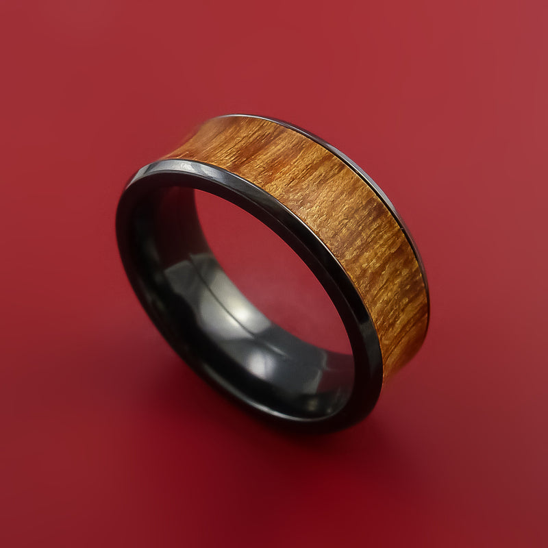 Black Zirconium and WOOD Ring inlaid in Osage ORANGE WOOD Custom Made to Any Size and Optional Wood Types