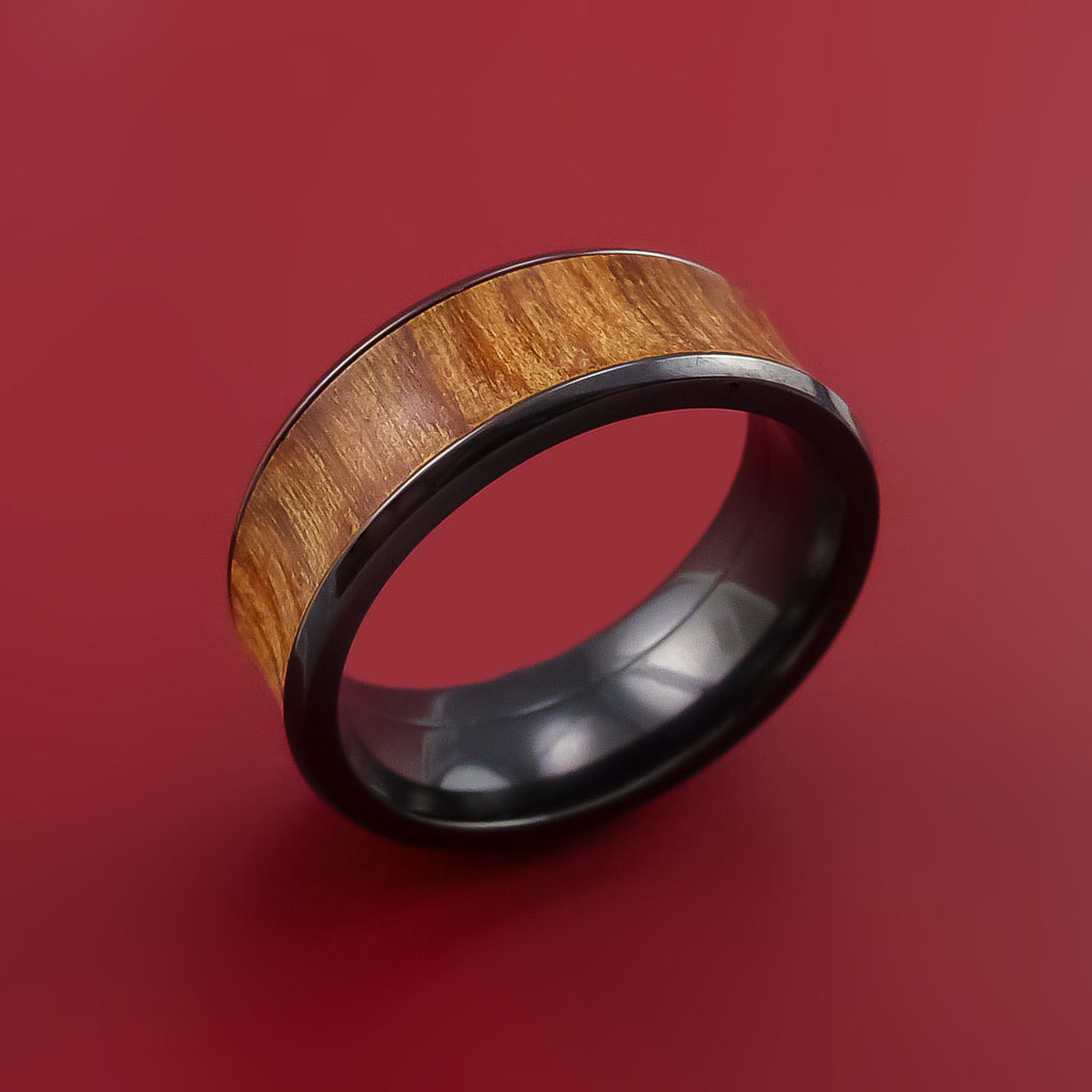 Black Zirconium and WOOD Ring inlaid in FIJI ORANGE WOOD Custom Made to Any Size and Optional Wood Types by Stonebrook Jewelry