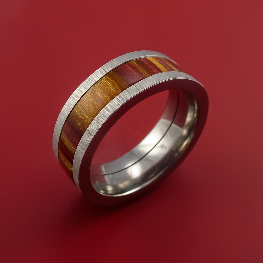 Wood Ring and Titanium Ring inlaid in TERRECOTTA WOOD Custom Made by Stonebrook Jewelry