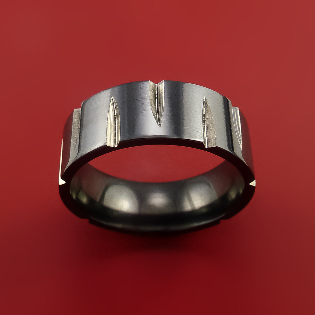 Black Zirconium Wedge Cut Wedding Band Ring Made to Any Sizing and Finish 3-22 by Stonebrook Jewelry