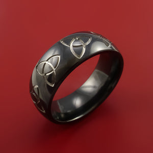 Black Zirconium Ring with Trinity Milled Celtic Design Inlay Custom Made Band