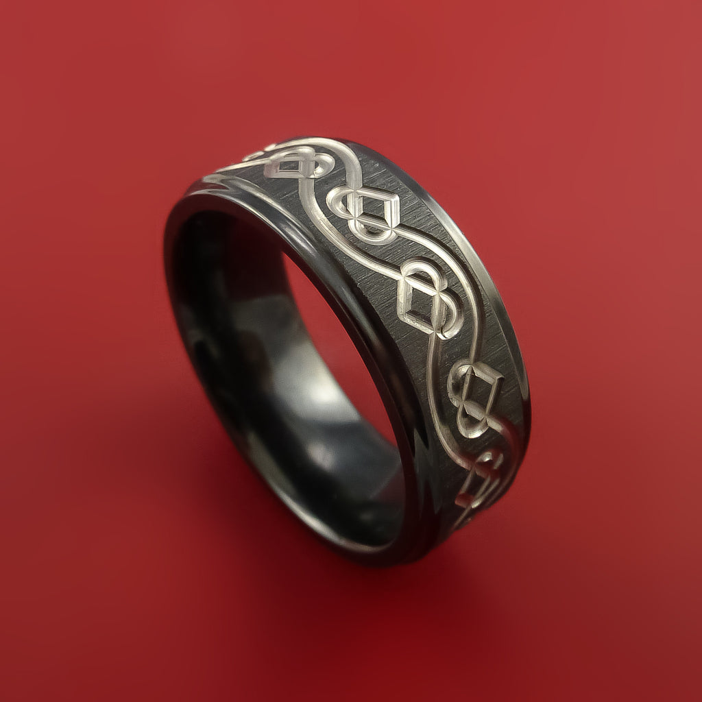 Black Zirconium Ring with Infinity Heart Milled Celtic Design Inlay Custom Made Band