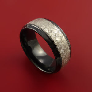 Black Zirconium Ring FLORENTINE textured and Silver Band Made to Any Sizing 3-22