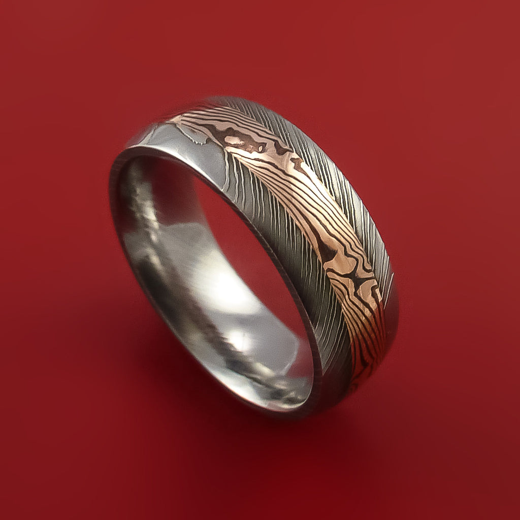 Damascus And 14k Rose Gold Mokume Gane Ring Custom Made