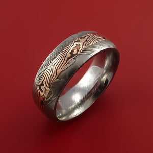 Damascus Steel Ring with 14k Rose Gold Mokume Shakudo Inlay Custom Made Band