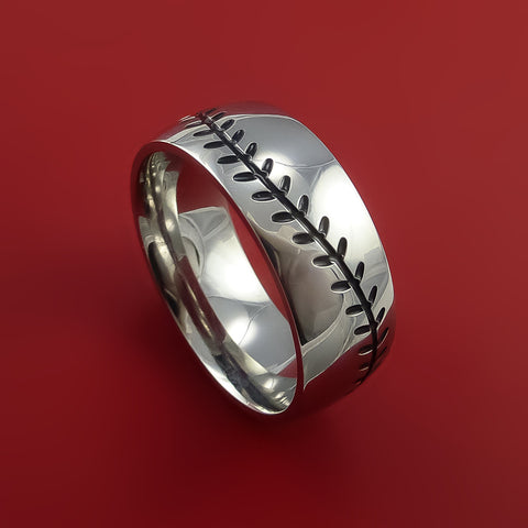 Titanium Baseball Ring With Custom Stitching Fan Band Any Size And Color Red Green