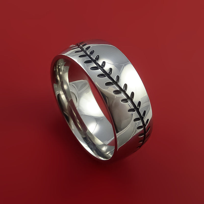 Titanium Baseball Ring with Custom Stitching Fan Band Any Size and Color Red, Green, Blue Inlay