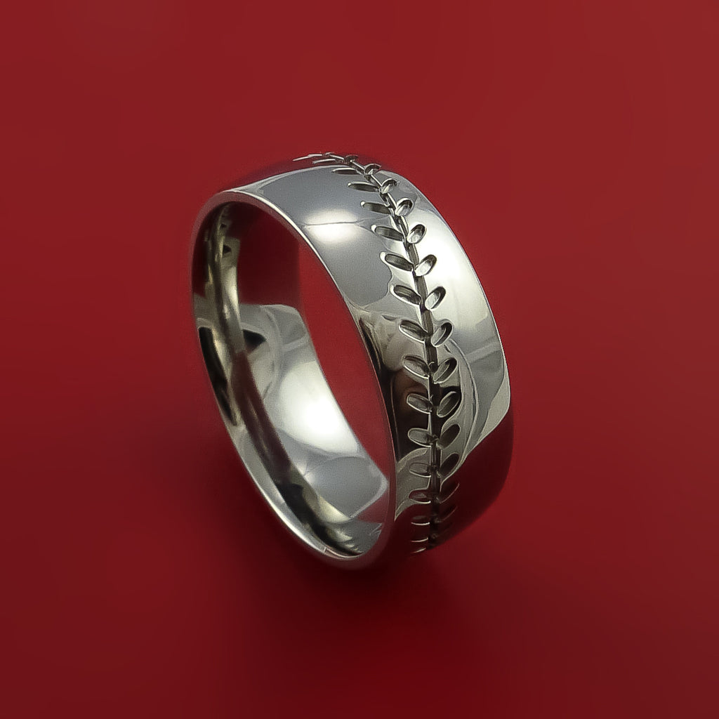 Titanium Baseball Ring with Custom Stitching Fan Band Any Size and Color Red, Green, Blue Inlay by Stonebrook Jewelry