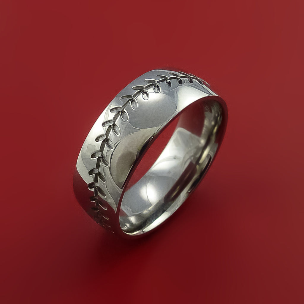 Titanium Baseball Ring with Custom Stitching Fan Band Any Size and Color Red, Green, Blue Inlay - Stonebrook Jewelry  - 4