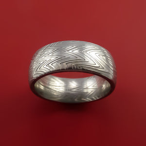Damascus Steel Ring Stripe Pattern Wedding Band Zebra Look