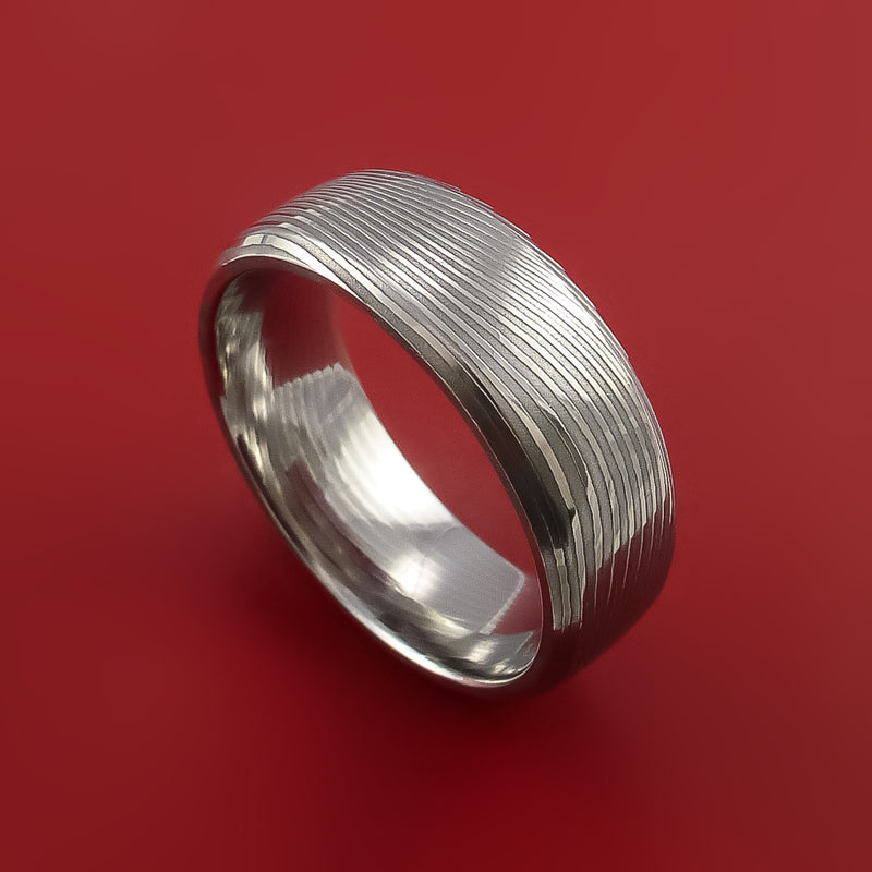Damascus Steel Ring Stripe Pattern Wedding Band Flat Twist Look