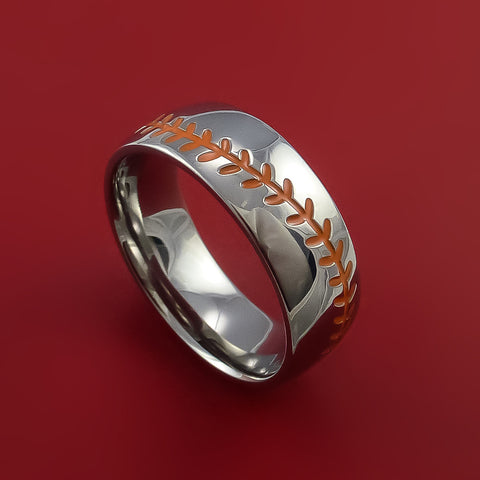Titanium Baseball Ring with Orange Stitching Fan Band Any Size and Color Red, Green, Blue Inlay