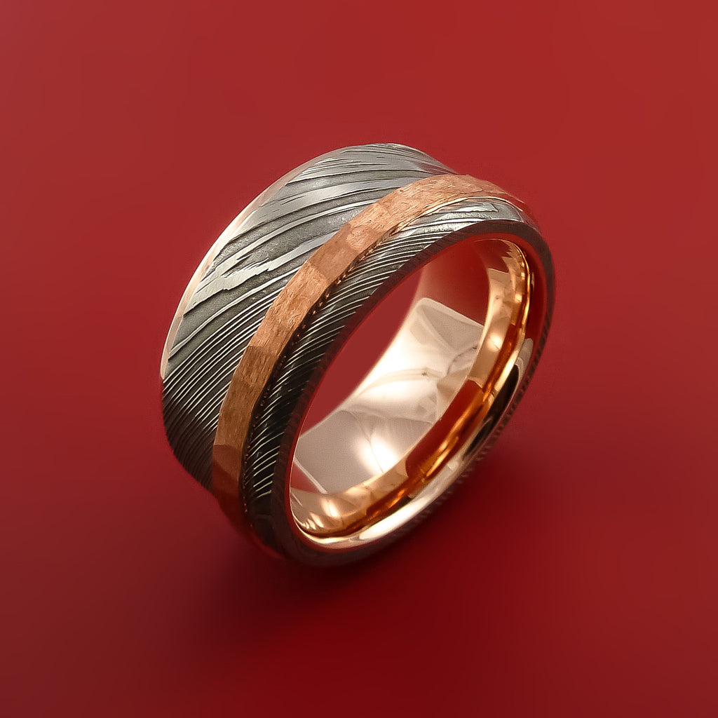 Damascus Steel 14K Rose Gold Ring Wedding Band with Hammered