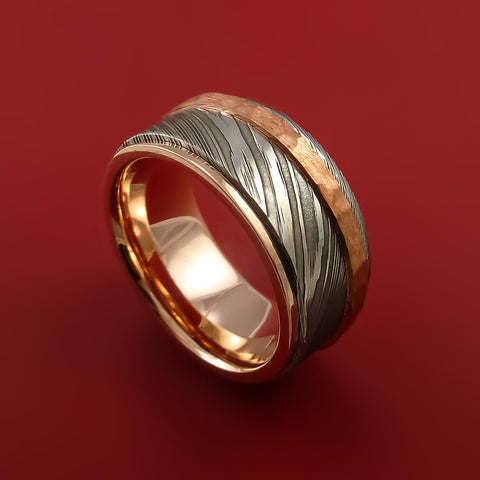 Damascus Steel 14K Rose Gold Ring Wedding Band with Hammered Copper Inlay by Stonebrook Jewelry