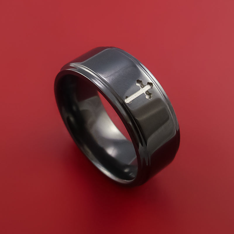 Black Zirconium Ring with Milled Cross Inlay Custom Made Band