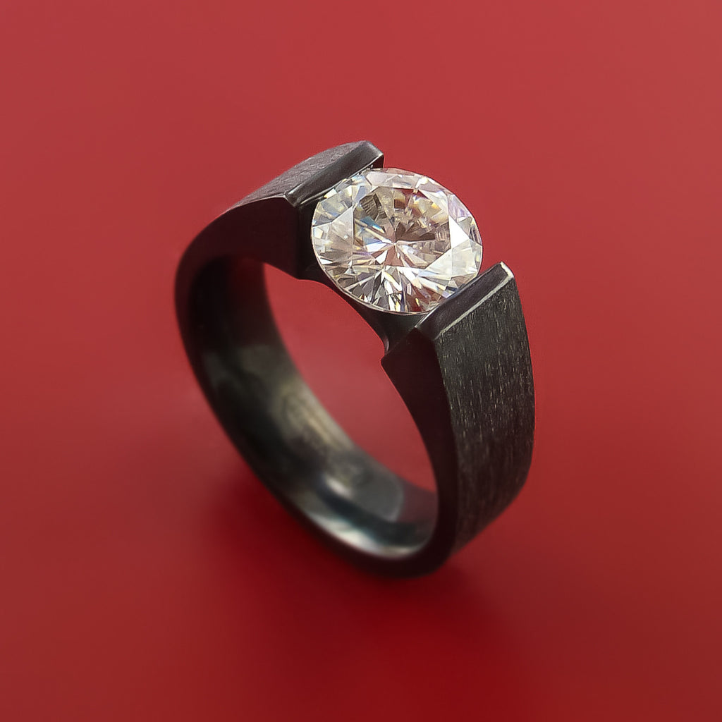Black Zirconium Ring with Moissanite Tension-Set Custom Made Band