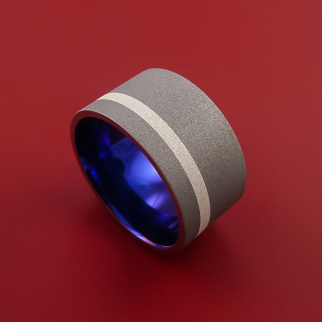 Wide Titanium Anodized Ring Classic Style with Silver Inlay Wedding Band by Stonebrook Jewelry
