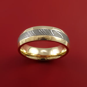 14k Yellow Gold Ring with Damascus Steel Inlay Custom Made Band