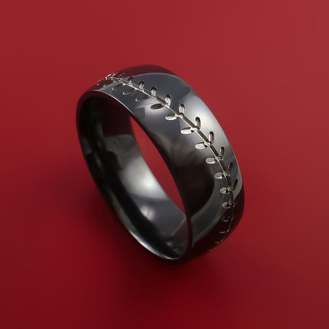 Black Zirconium Baseball Ring with Silver Stitching Fan Band Any Size and Color