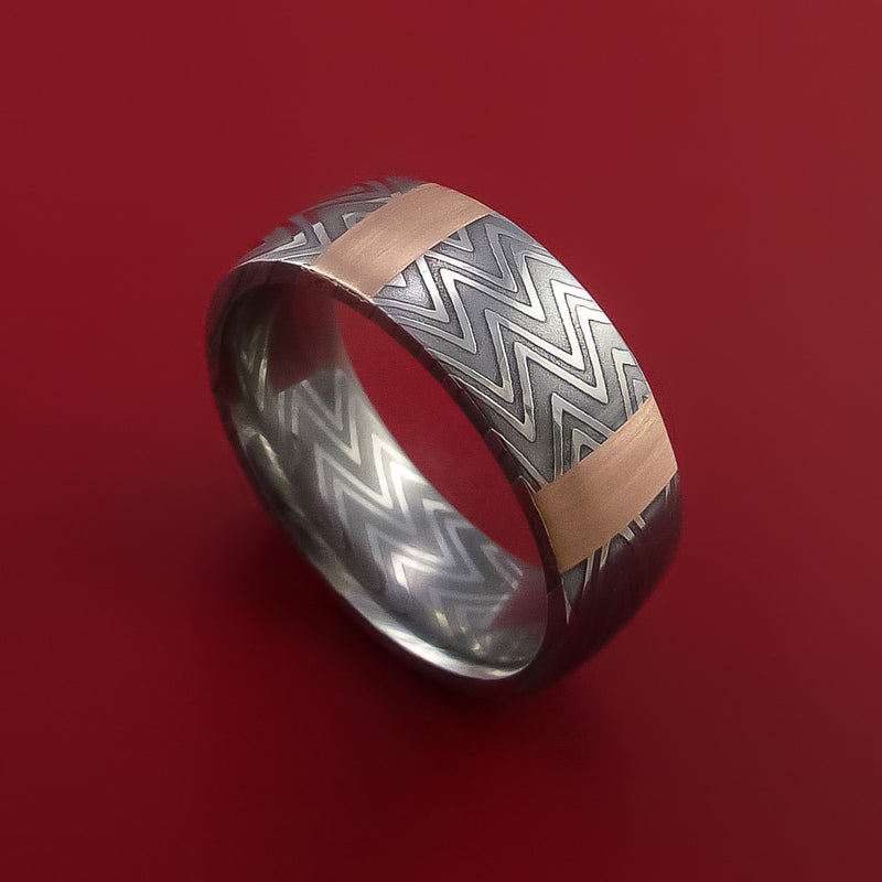 Damascus Steel Ring and 14k Rose Gold Stripe Pattern Wedding Band Zebra Look
