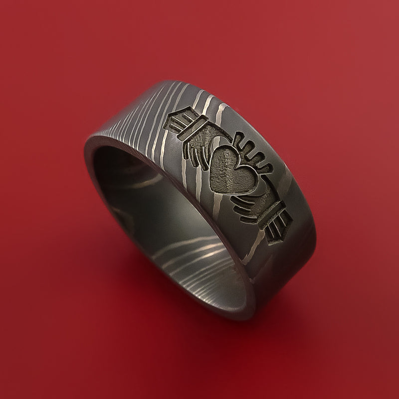 Damascus Steel Ring with Claddagh Milled Celtic Design Inlay Custom Made Band