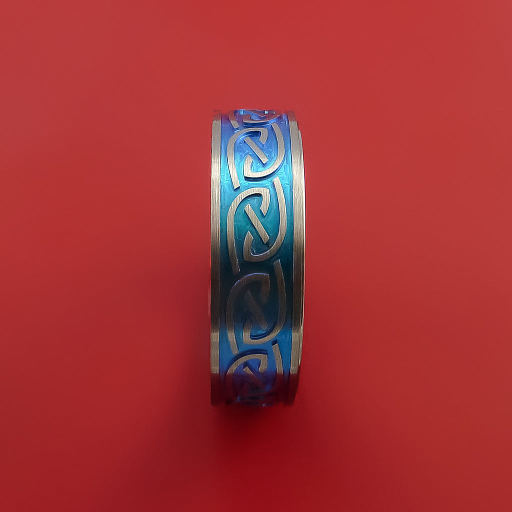 Titanium Anodized Celtic Band Infinity Symbolic Wedding Ring Custom Made by Stonebrook Jewelry