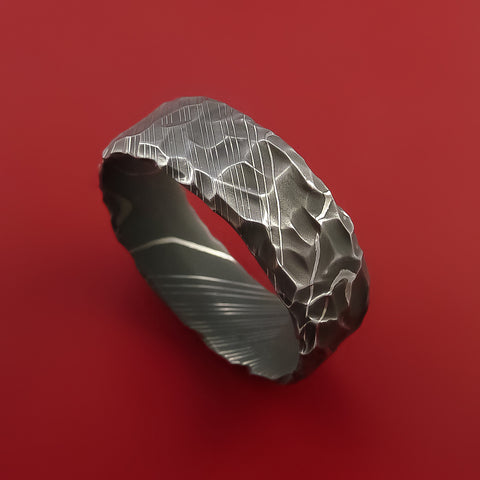 Damascus Steel Ring with Hammer Rock Finish Custom Made to Any Size by Stonebrook Jewelry