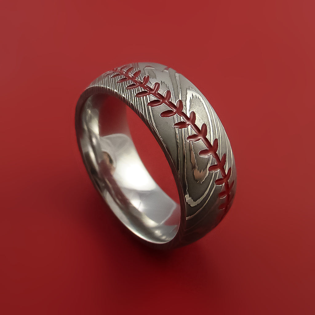 Damascus Steel Baseball Ring With Red Stitching Polish