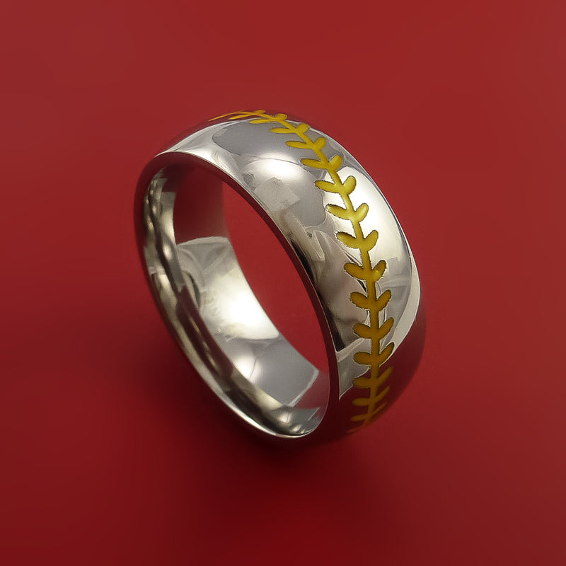 Cobalt Chrome Baseball Ring with Yellow Stitching Polish Finish