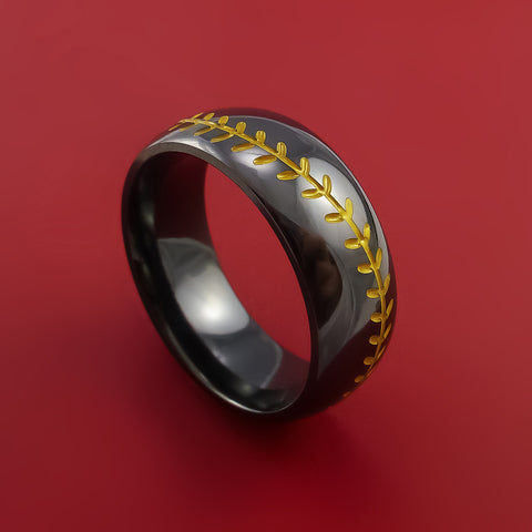 Black Zirconium Baseball Ring with Yellow Stitching Polish Finish
