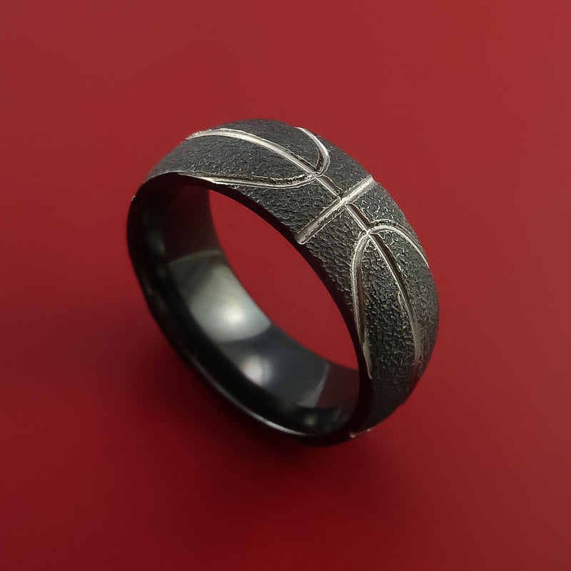 Black Zirconium Basketball Inspired Ring