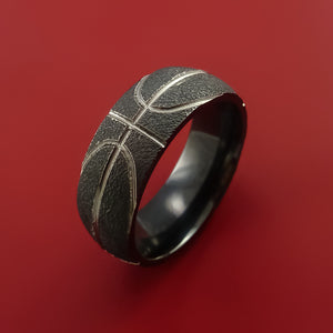 Black Zirconium Ring with Milled Basketball Design Inlay Custom Made Band