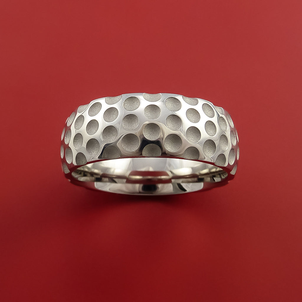 Cobalt Chrome Golf Inspired Golf Ball Sport Ring by Stonebrook Jewelry