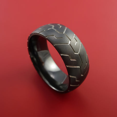 Black Zirconium Tire Tread Textured Carved Ring by Stonebrook Jewelry