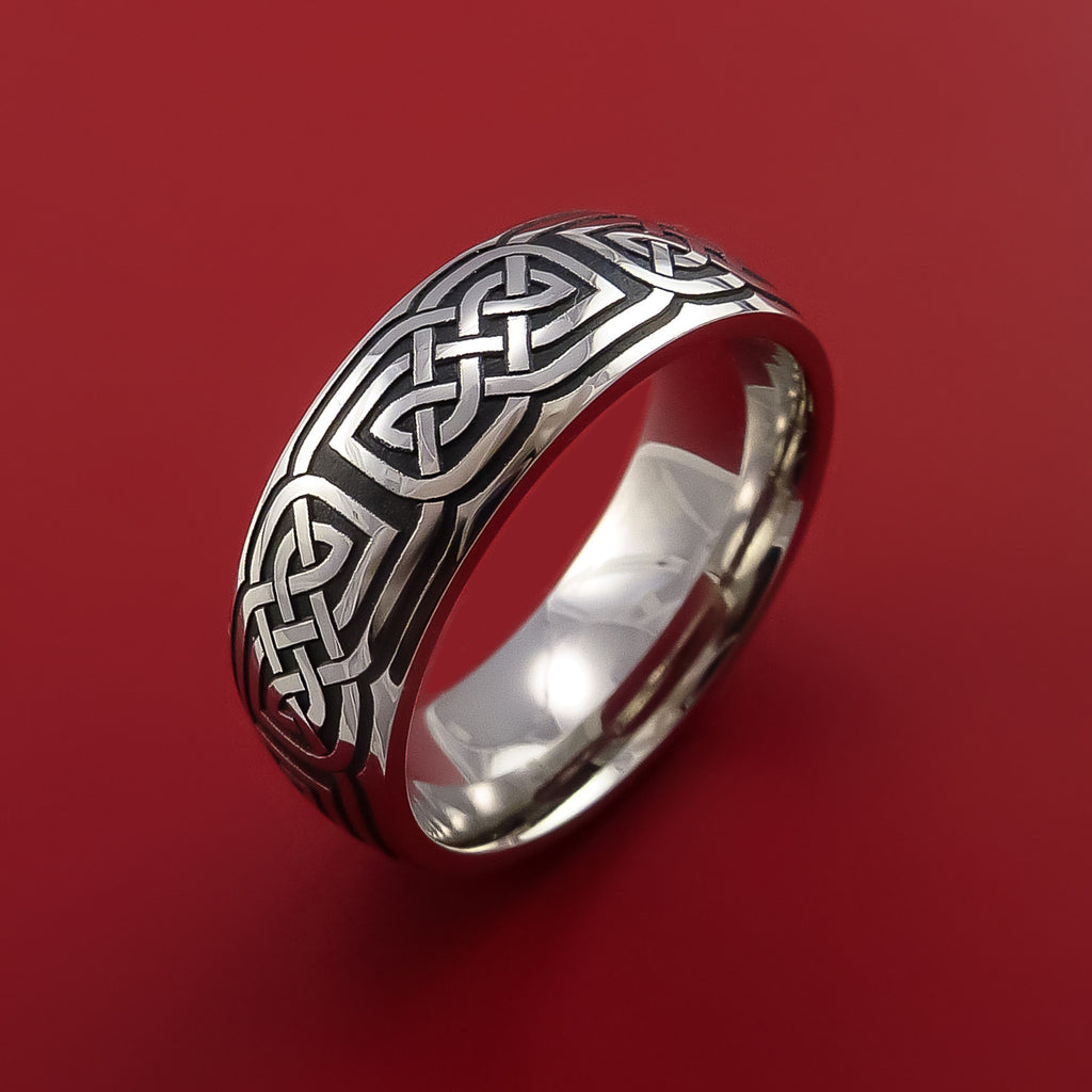 Cobalt Chrome Celtic Wedding Ring Celtic Knot Custom Made by Stonebrook Jewelry