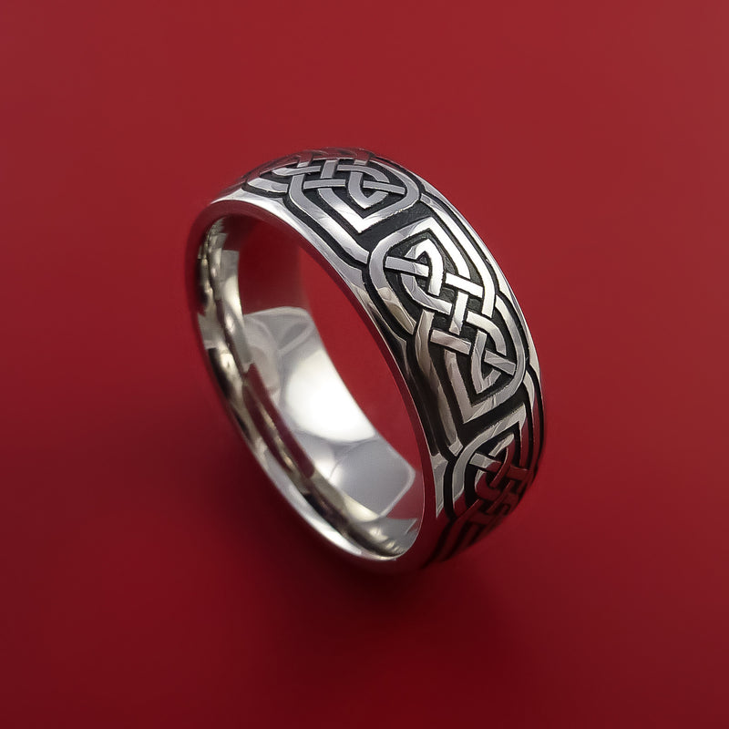 Cobalt Chrome Ring with Infinity Etched Celtic Design and Cerakote Inlays Custom Made Band