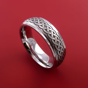 Cobalt Chrome Ring with Infinity Knot Milled Celtic Design Inlay Custom Made Band