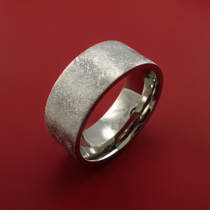 Cobalt Chrome Wide Ring Distressed Smooth Finish Band Made to Any Sizing
