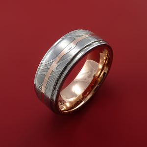 Damascus Steel Ring with  Inlay and Interior 14k Rose Gold Sleeve Custom Made Band