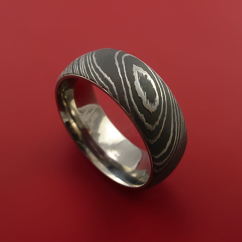 Damascus Steel Ring with Interior Titanium Sleeve Custom Made Band