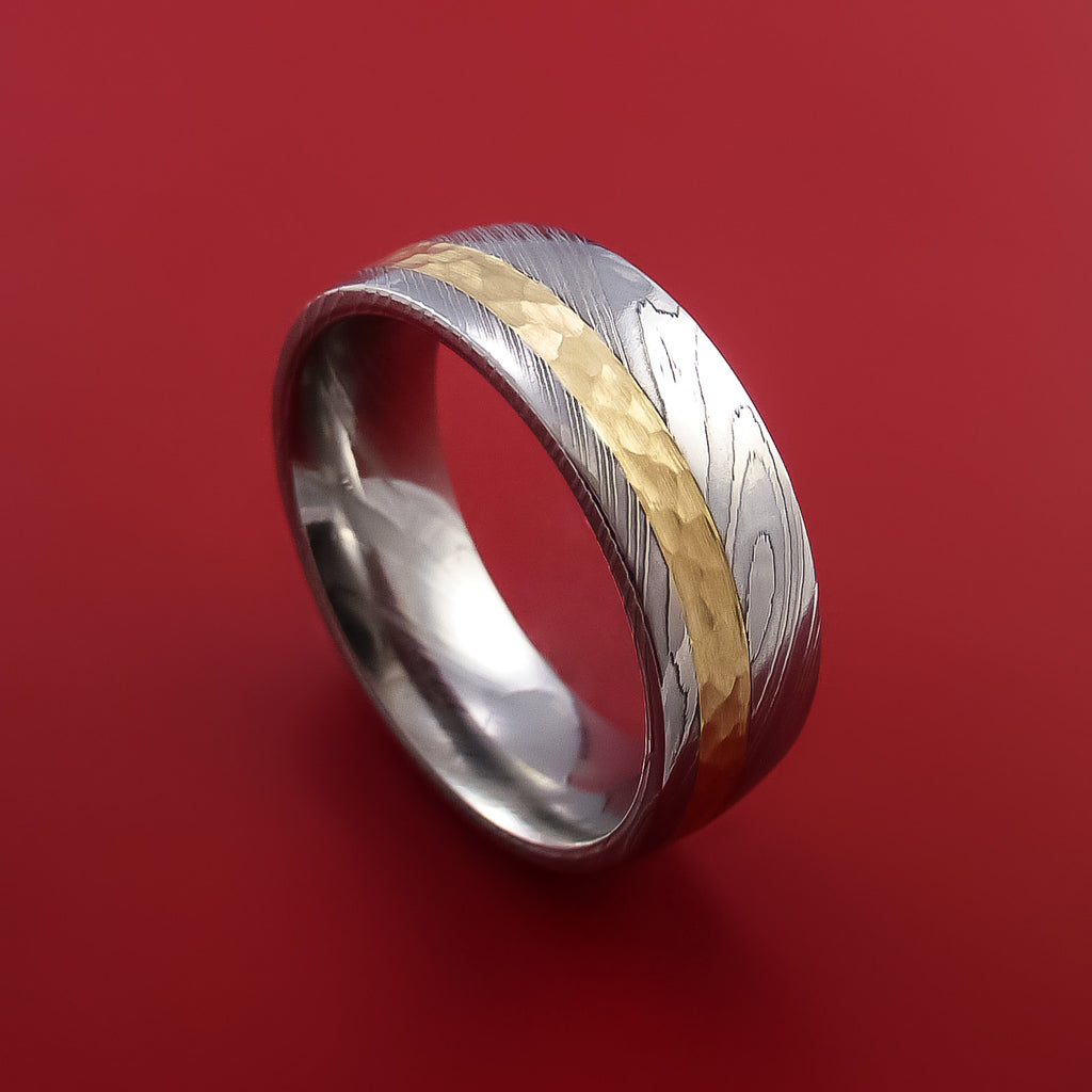 Damascus Steel 14K Yellow Gold Ring Wedding Band Custom Made Hammer Finish - Stonebrook Jewelry  - 1